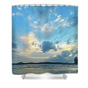 Dawn Seascape With Cloudy Sky Shower Curtain