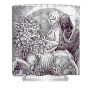 Death Devil And Maiden Shower Curtain