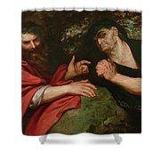 Democritus And Heraclitus Shower Curtain