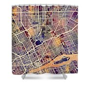 Detroit Michigan City Map Shower Curtain