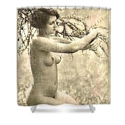 Digital Ode To Vintage Nude By Mb Shower Curtain