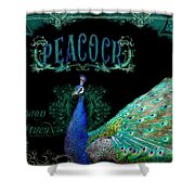 Elegant Peacock W Vintage Scrolls  Shower Curtain