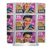 Elvis Commemorative Stamp January 8th 1993 Painted  Shower Curtain