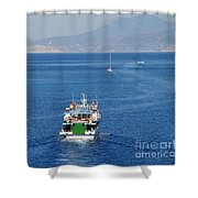 Emborio Harbour On Halki Shower Curtain