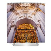 Entrance Of The Syracuse Baroque Cathedral In Sicily - Italy Shower Curtain
