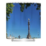 Famous Columbus Monument Landmark In Central Barcelona Spain Shower Curtain