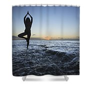 Female Doing Yoga At Sunset Shower Curtain