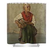 Fish Seller With The Vesuvio In The Background Shower Curtain