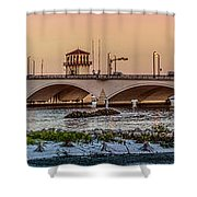 Flagler Bridge In Lights Panorama Shower Curtain