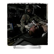 Flight Medic Looks After A Mock Patient Shower Curtain
