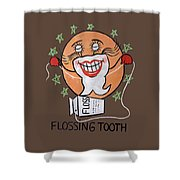 Flossing Tooth Shower Curtain
