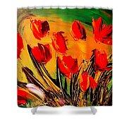 Flowers Modern Abstract Fine Art Canvas Shower Curtain