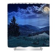 Forest On A Steep Mountain Slope Shower Curtain