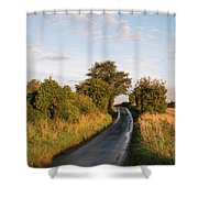 Freshly Harvested Fields Of Barley In Countryside Landscape Bath Shower Curtain