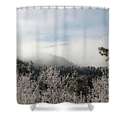 Frosty Pikes Peak Shower Curtain