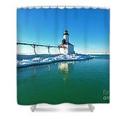 Frozen Lighthouse Shower Curtain