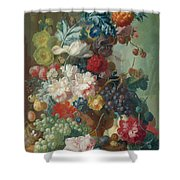 Fruit And Flowers In A Terracotta Vase Shower Curtain