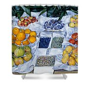 Fruit Displayed On A Stand Shower Curtain