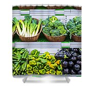 Fruits And Vegetables On A Supermarket Shelf Shower Curtain by Deyan Georgiev