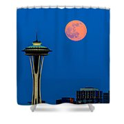 Full Moon With Space Needle Shower Curtain