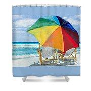 Beach Umbrella By Marilyn Nolan-johnson Shower Curtain