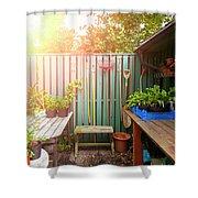 Garden Potting Table Shower Curtain