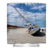 Ghost Ship Beached By Hurricane Irma Shower Curtain