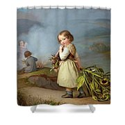 Girl On Her Way To Cooking Potatoes In The Fire Shower Curtain