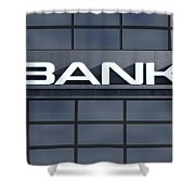 Glass Bank Building Signage Shower Curtain