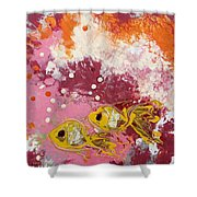 2 Gold Fish Shower Curtain