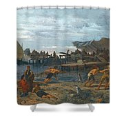 Greek A Bustling Shore Shower Curtain