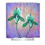 2 Green Orchids. Sunrise Shower Curtain