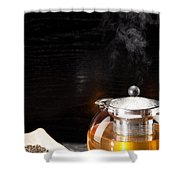 Gunpowder Green Tea In Glass Teapot Shower Curtain