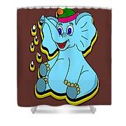 Happy Blue Elephant Shower Curtain