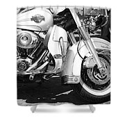 White Harley Davidson Bw Shower Curtain by Stefano Senise