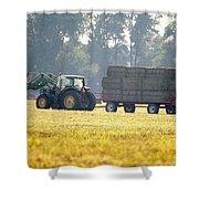 Hauling Hay At Dusk Shower Curtain