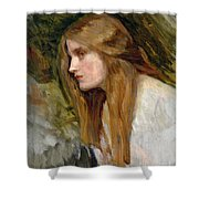 Head Of A Girl Shower Curtain by John William Waterhouse