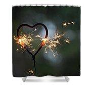 Heart Shape Sparkler Shower Curtain