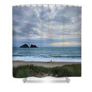 Holywell Bay Sunset Shower Curtain