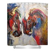 2 Horses Shower Curtain