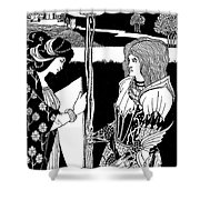 How Morgan Le Fay Gave A Shield To Sir Tristran Shower Curtain
