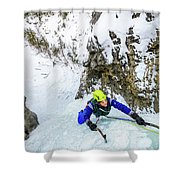 Ice Climbers On A Route Called Professor Falls Rated Wi4 In Banf Shower Curtain