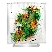 Ireland Map Paint Splashes Shower Curtain