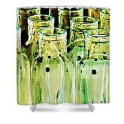 Iridescent Bottle Parade Shower Curtain