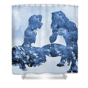 Jane And Tarzan-blue Shower Curtain
