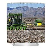 John Deere Cotton Pickers Harvesting Shower Curtain