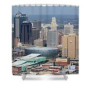 Kansas City Skyline Panorama Shower Curtain