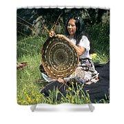 Kashia Pomo Woman Weaving Shower Curtain