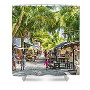 Koh Rong Island Main Village Bars In Cambodia Shower Curtain