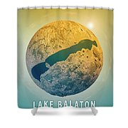 Lake Balaton 3d Little Planet 360-degree Sphere Panorama Shower Curtain